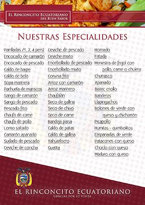 Flyer restaurante El rinconcito ecuatoriano